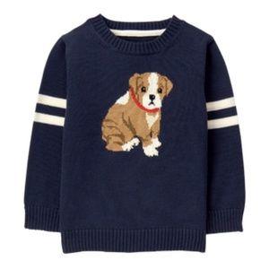 Janie & Jack Navy Varsity Club Dog Sweater 5T